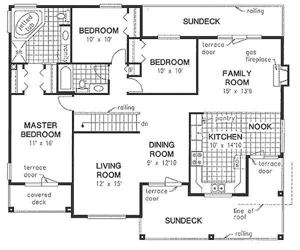 Mediterranean Floor Plan - Main Floor Plan Plan #18-253