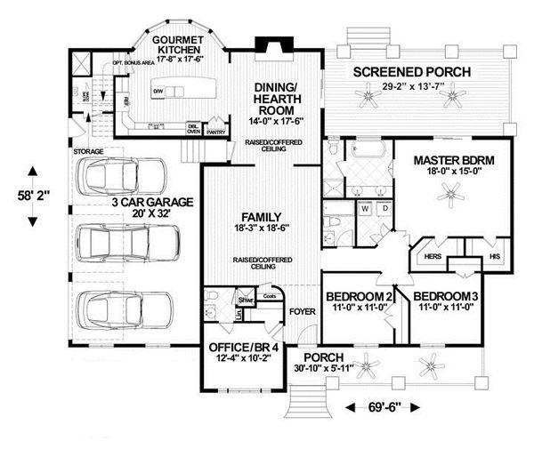 Craftsman Floor Plan - Main Floor Plan Plan #56-699
