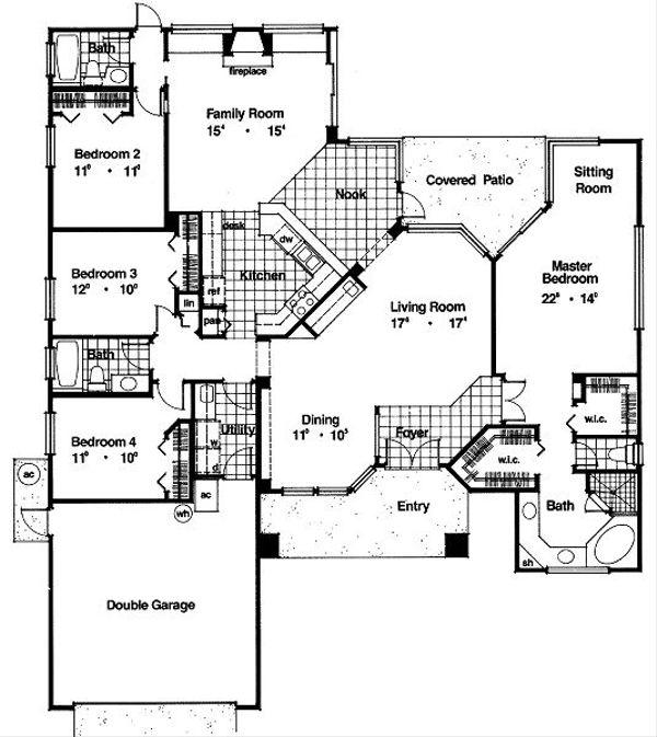 Mediterranean Floor Plan - Main Floor Plan Plan #417-221