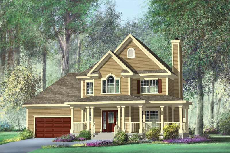 Country Style House Plan - 3 Beds 2 Baths 1708 Sq/Ft Plan #25-4318 Exterior - Front Elevation