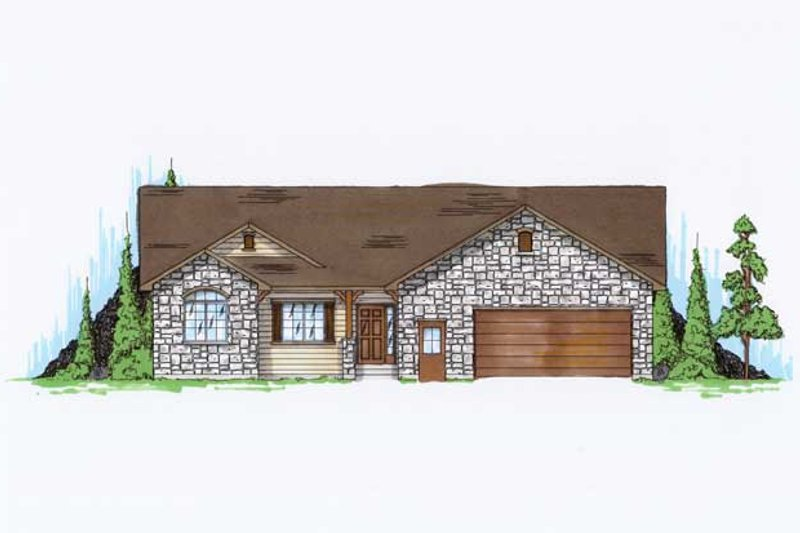 Home Plan - Ranch Exterior - Front Elevation Plan #5-235