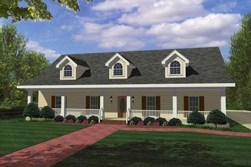 Southern Style House Plan - 4 Beds 3 Baths 1856 Sq/Ft Plan #44-162 Exterior - Front Elevation