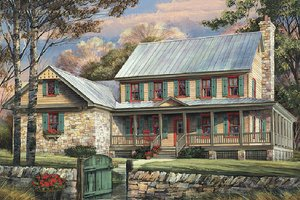 Country Exterior - Front Elevation Plan #137-255