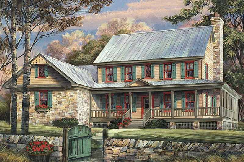 Country Exterior - Front Elevation Plan #137-255 - Houseplans.com