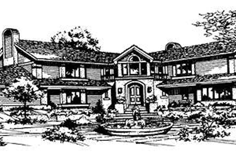 Traditional Style House Plan - 4 Beds 4.5 Baths 5620 Sq/Ft Plan #320-122 Exterior - Front Elevation
