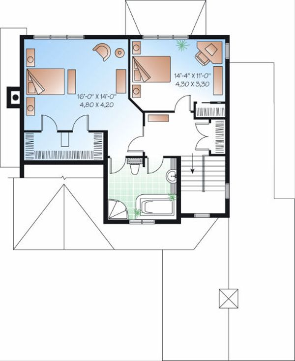 Farmhouse Floor Plan - Upper Floor Plan Plan #23-722