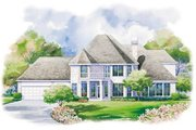 European Style House Plan - 4 Beds 3.5 Baths 3323 Sq/Ft Plan #20-1114 Exterior - Rear Elevation