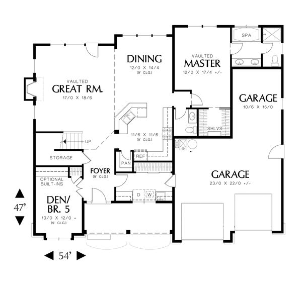 Architectural House Design - Traditional Floor Plan - Main Floor Plan #48-634