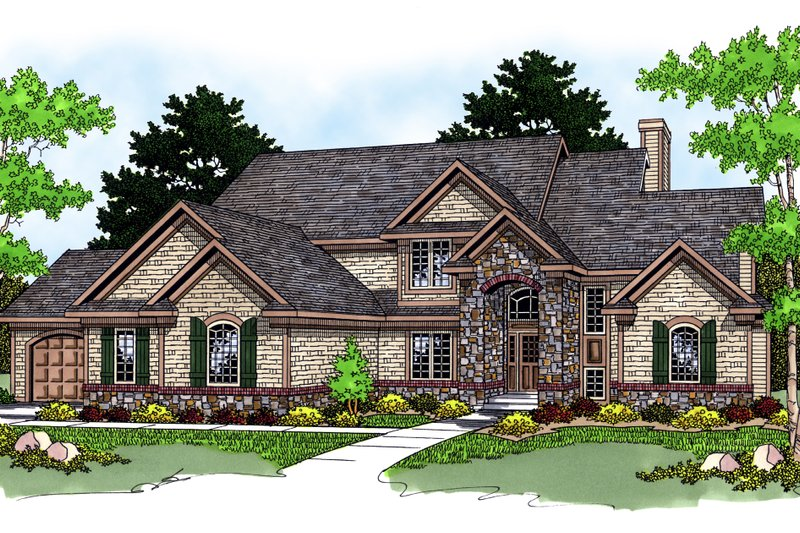 Traditional Style House Plan - 3 Beds 2.5 Baths 2677 Sq/Ft Plan #70-429 Photo