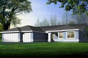 Ranch Exterior - Front Elevation Plan #1-1484