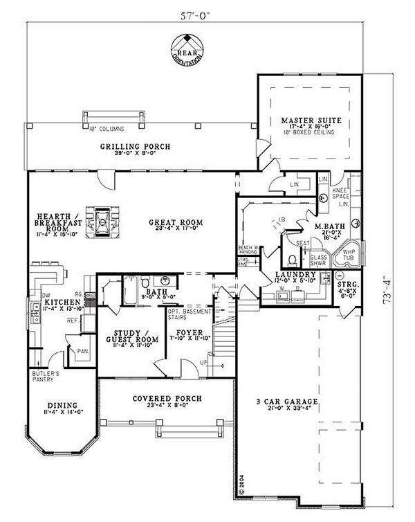 Craftsman Floor Plan - Main Floor Plan #17-2153