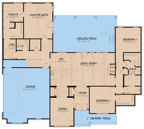 House Plan Design - Farmhouse Floor Plan - Main Floor Plan #923-155