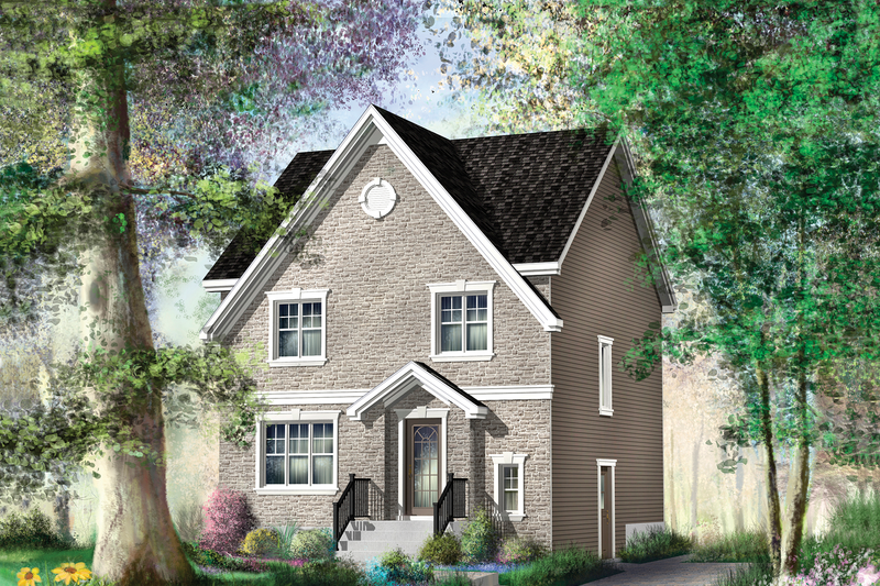 European Style House Plan - 3 Beds 1 Baths 1456 Sq/Ft Plan #25-4469 Exterior - Front Elevation