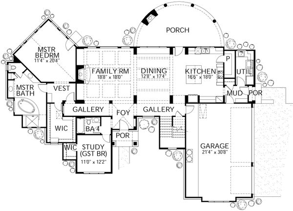 House Plan Design - Mediterranean Floor Plan - Main Floor Plan #80-141