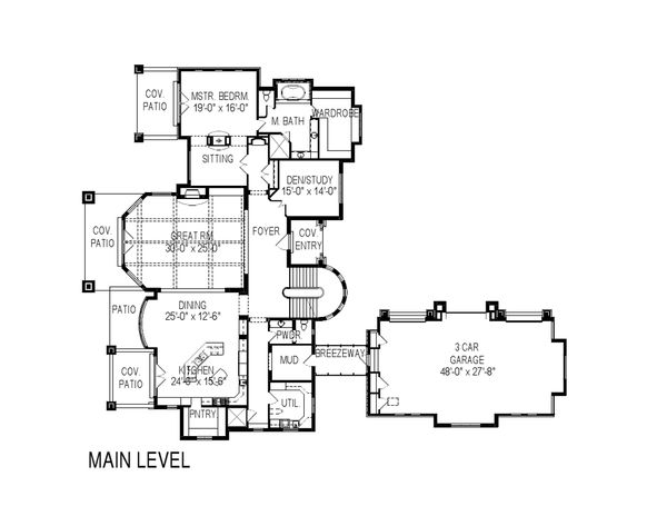 European Floor Plan - Main Floor Plan Plan #920-62