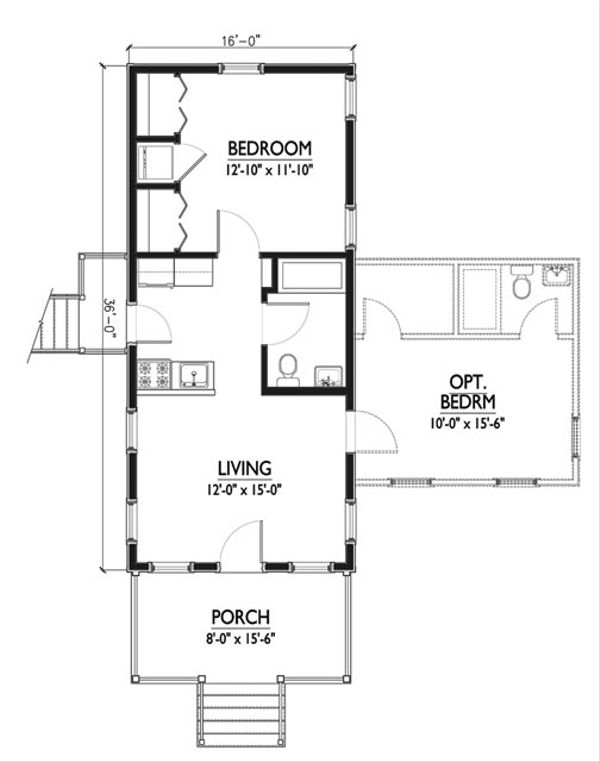 500sft Katrina Cottage floor Plan with optional bedroom houseplans #514-6