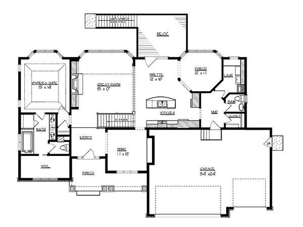 Craftsman Floor Plan - Main Floor Plan Plan #320-497