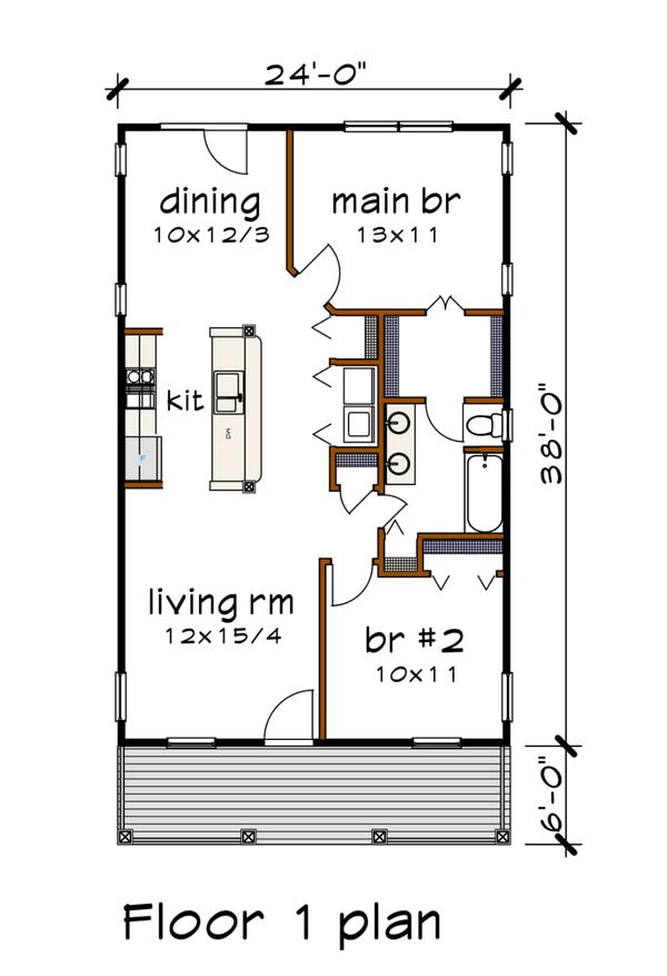 Dream House Plan - Cottage Floor Plan - Main Floor Plan #79-108