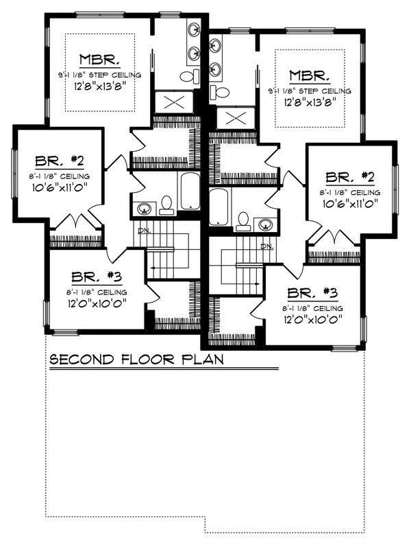 Traditional Floor Plan - Upper Floor Plan Plan #70-1474