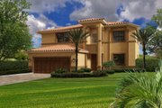 Mediterranean Style House Plan - 5 Beds 4 Baths 2817 Sq/Ft Plan #420-287 Exterior - Front Elevation