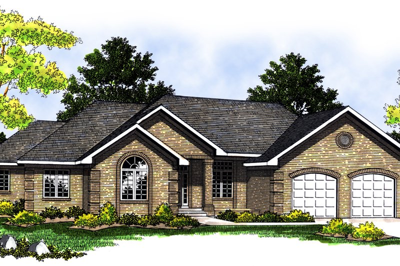 Ranch Exterior - Front Elevation Plan #70-217 - Houseplans.com