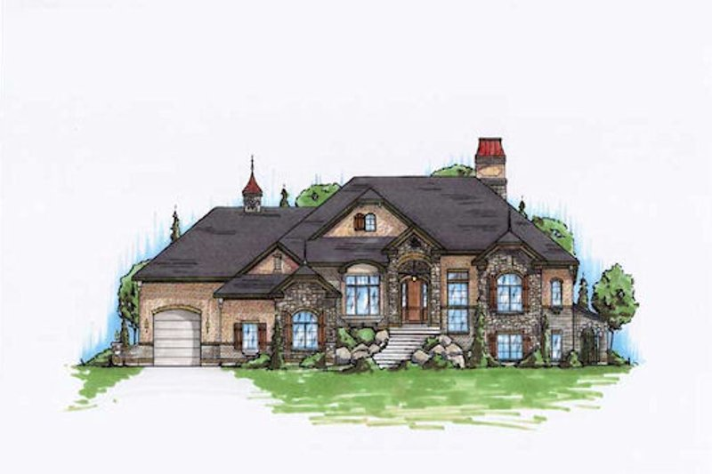 European Style House Plan - 4 Beds 3.5 Baths 2426 Sq/Ft Plan #5-288 Exterior - Front Elevation
