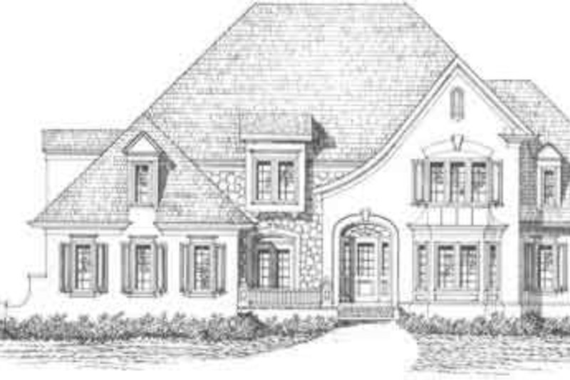 European Style House Plan - 5 Beds 3.5 Baths 3326 Sq/Ft Plan #129-158 Exterior - Front Elevation