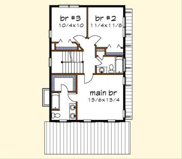 Traditional Floor Plan - Upper Floor Plan Plan #79-272