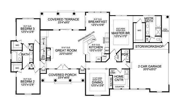 Craftsman Floor Plan - Main Floor Plan Plan #456-28