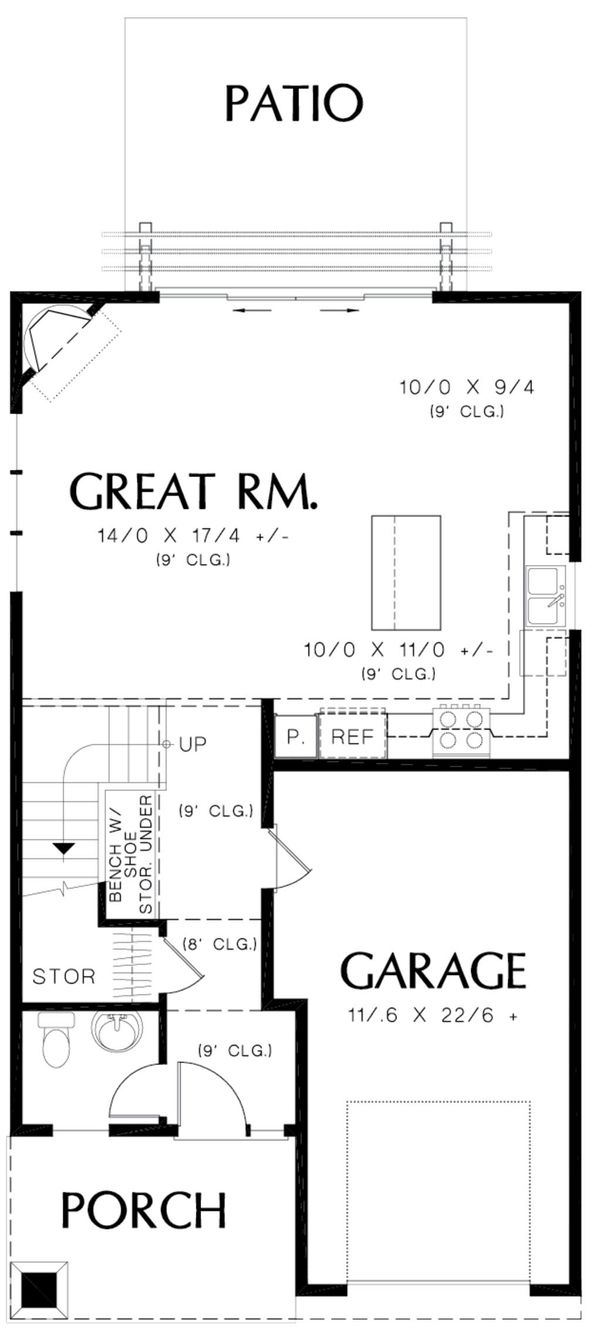 Home Plan - Craftsman Floor Plan - Main Floor Plan #48-490