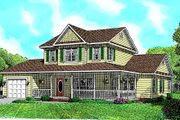 Country Style House Plan - 3 Beds 2.5 Baths 1784 Sq/Ft Plan #11-201 Exterior - Front Elevation
