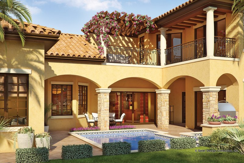 Mediterranean Exterior - Rear Elevation Plan #930-22 - Houseplans.com