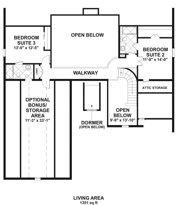 Craftsman Floor Plan - Upper Floor Plan Plan #56-726