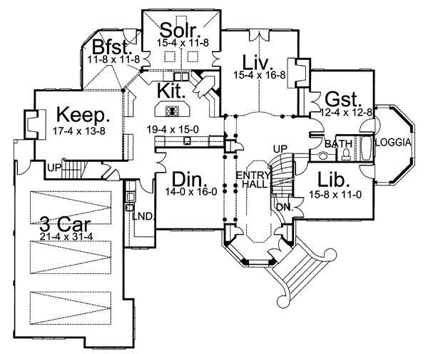 Dream House Plan - European Floor Plan - Main Floor Plan #119-241