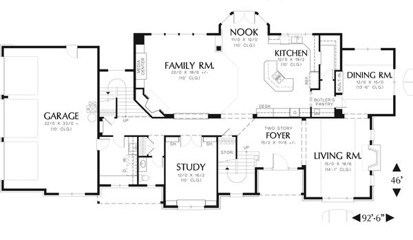 European Floor Plan - Main Floor Plan Plan #48-617