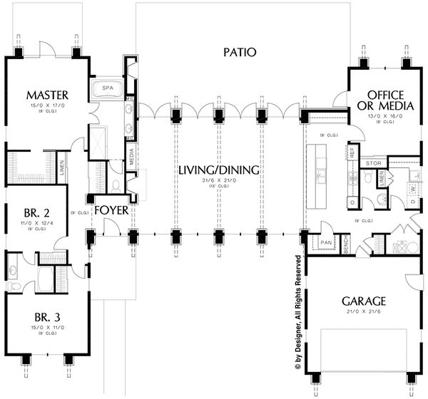 Modern Floor Plan - Main Floor Plan Plan #48-476