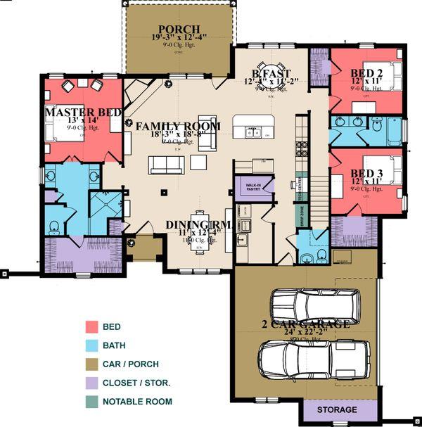 Home Plan - European Floor Plan - Main Floor Plan #63-348