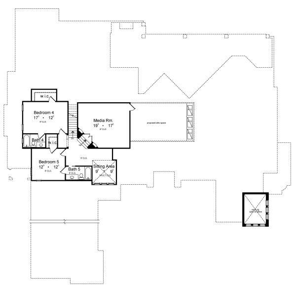 Architectural House Design - European Floor Plan - Upper Floor Plan #417-447