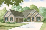 European Style House Plan - 4 Beds 3.5 Baths 4035 Sq/Ft Plan #923-3 Exterior - Front Elevation