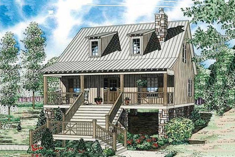 Cabin Style House Plan - 2 Beds 2 Baths 1400 Sq/Ft Plan #17-2356 Exterior - Front Elevation