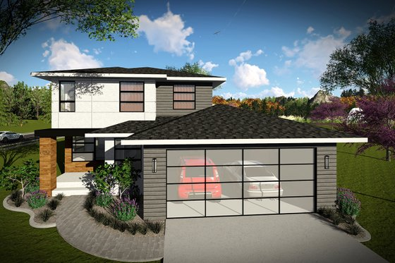 Modern Exterior - Front Elevation Plan #70-1456