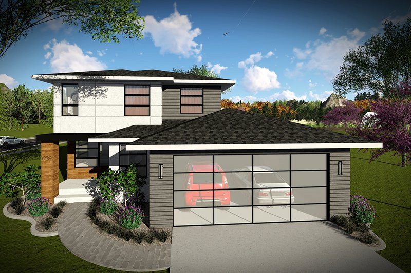 Modern Style House Plan - 3 Beds 2.5 Baths 1601 Sq/Ft Plan #70-1456 Exterior - Front Elevation