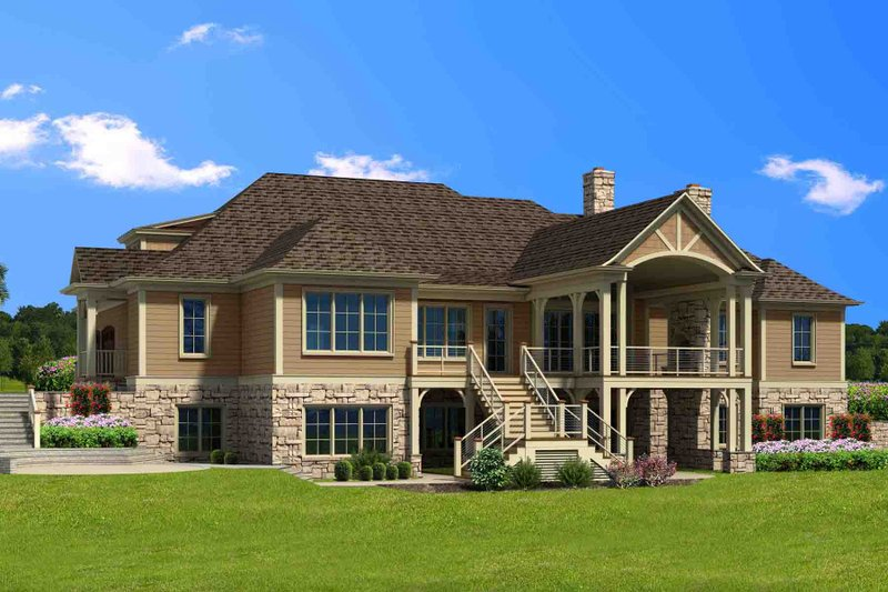Traditional Exterior - Rear Elevation Plan #1054-21
