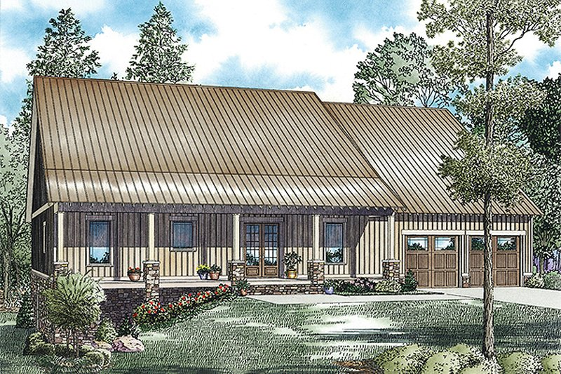 Country Style House Plan - 3 Beds 2.5 Baths 2575 Sq/Ft Plan #17-2459 Exterior - Front Elevation