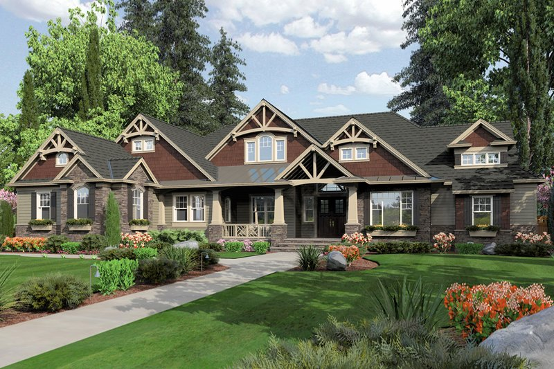 Craftsman Exterior - Front Elevation Plan #132-208