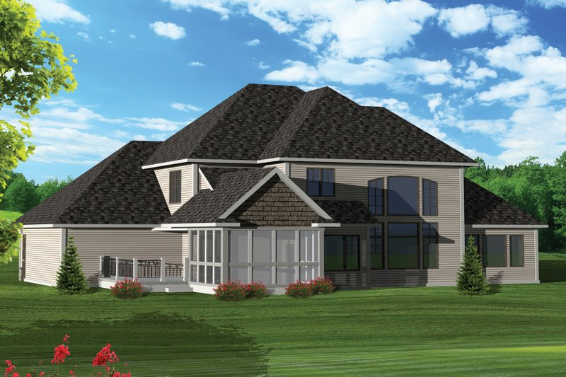 Craftsman Exterior - Rear Elevation Plan #70-1065 - Houseplans.com