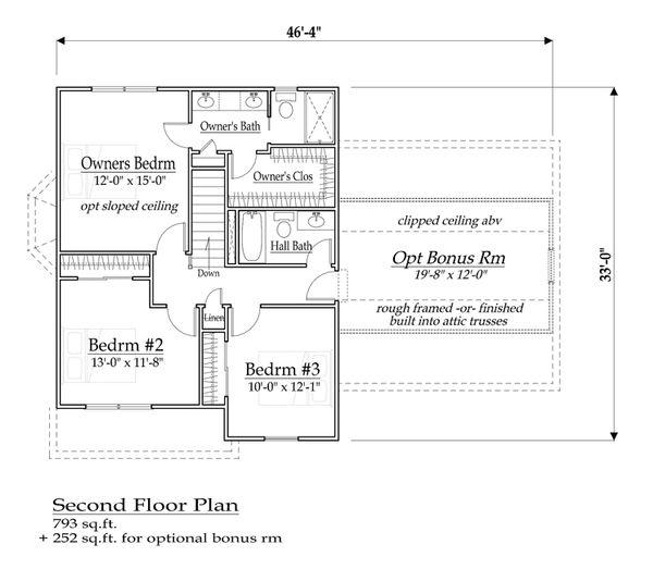 Farmhouse Floor Plan - Upper Floor Plan Plan #459-5