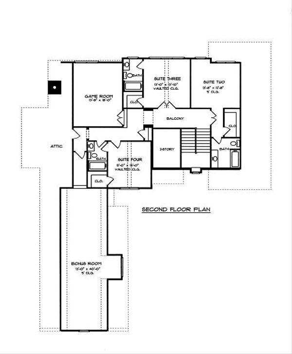 European Floor Plan - Upper Floor Plan Plan #413-146
