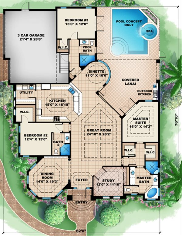 European Floor Plan - Main Floor Plan Plan #27-440