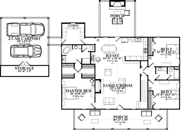 Ranch Floor Plan - Main Floor Plan Plan #63-414